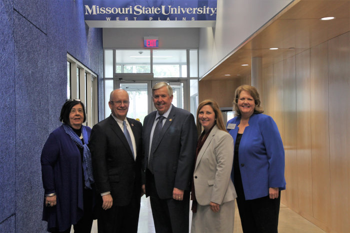 Carol Silvey, President Smart, Governor Parson, Commissioner Mulligan, and Chancellor Lawler
