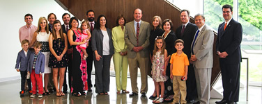 The Gohn and Sapp families celebrate the opening of Gohn Hall.