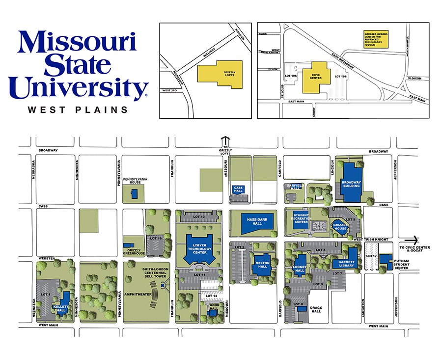 Campus map with building and street names