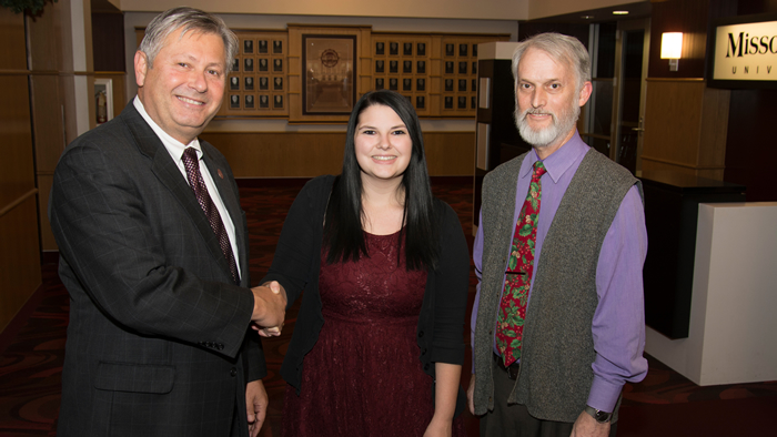 "Victoria ""Tori"" York with Chancellor Bennett and Communications Professor Dr. Gary Phillips"