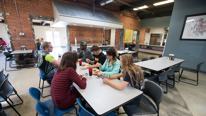 Grizzly Lofts residents eat in the Sole Café