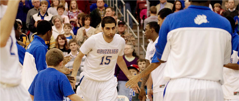 Farbod Farman puts his game face on as he comes on the court.