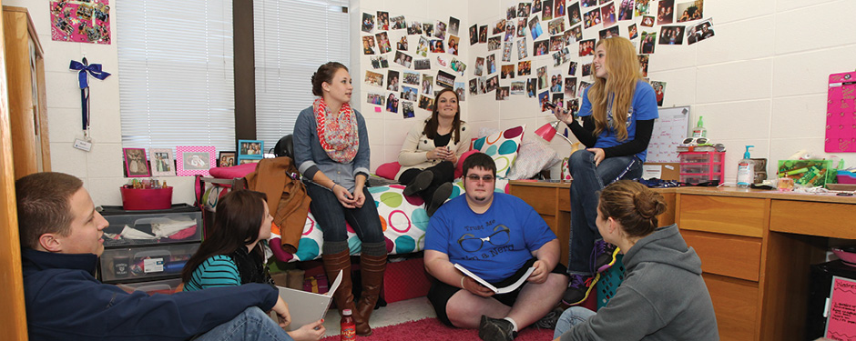 You'll find plenty of friends to help you study at the Grizzly House residence hall.