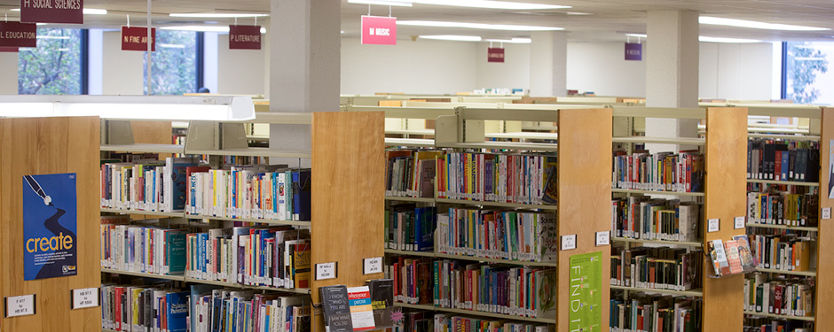 Over 42,000 books fill the shelves at the Garnett Library.