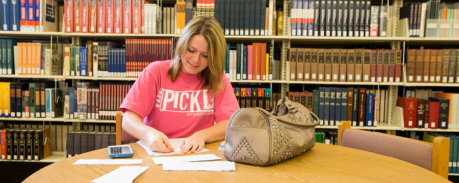 The Garnett Library includes a number of study areas where students can complete assignments.