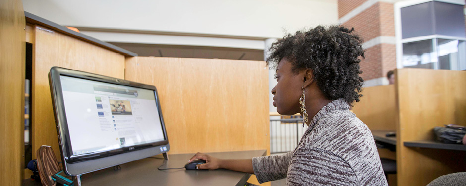 Students can use one of the 60 computer stations in Lybyer's open computer lab to check email or complete assignments.
