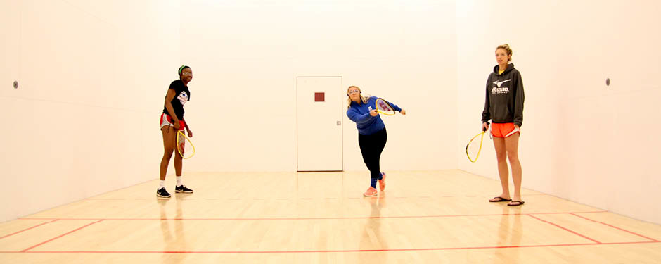 Students try their hand at racquetball in the Student Recreation Center.
