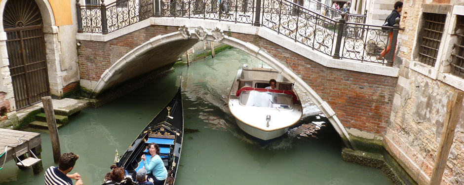 Students studying abroad get to experience the canals of Venice.