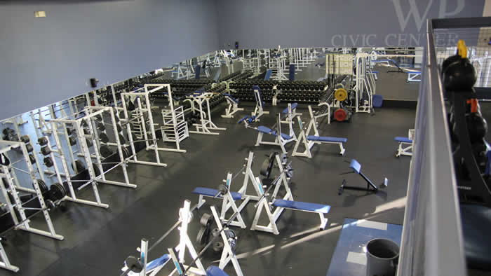Overhead view of the fitness center.